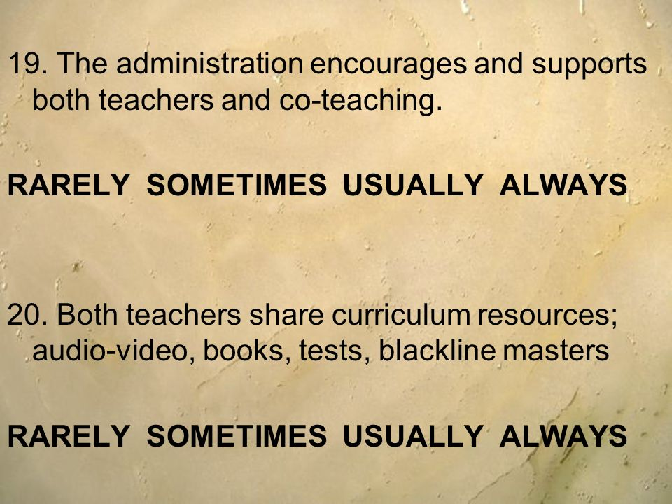 19. The administration encourages and supports both teachers and co-teaching.