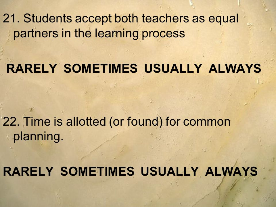 21. Students accept both teachers as equal partners in the learning process
