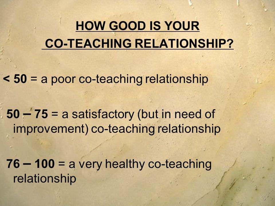 CO-TEACHING RELATIONSHIP