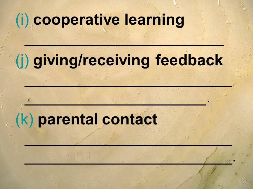 (i) cooperative learning _______________________
