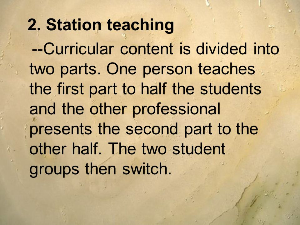 2. Station teaching