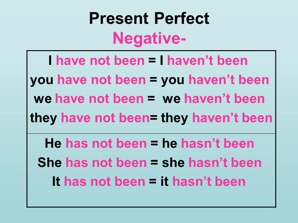 Present Perfect Negative-