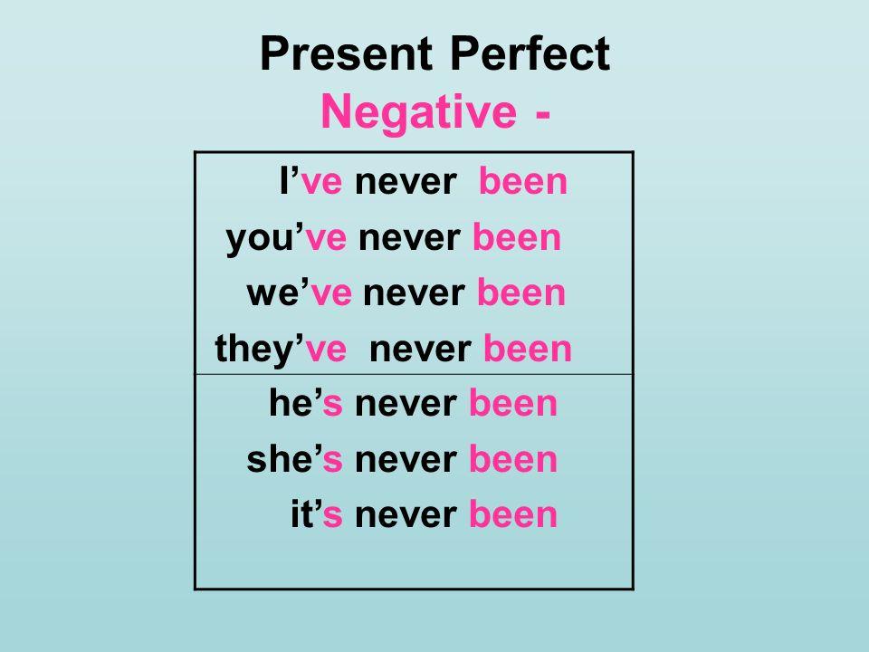 Present Perfect Negative -