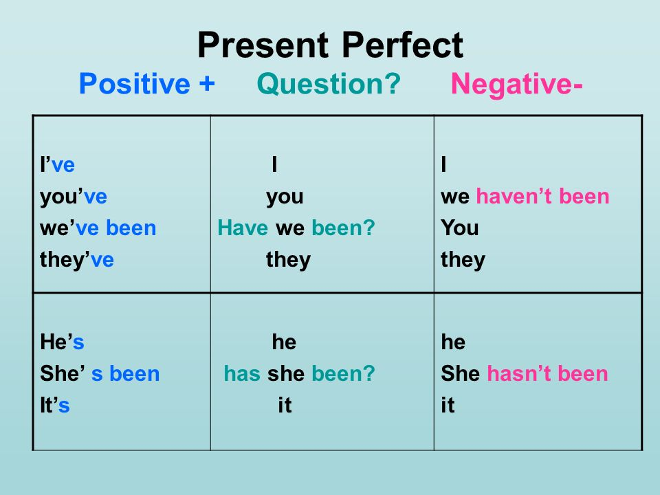 Present Perfect Positive + Question Negative-