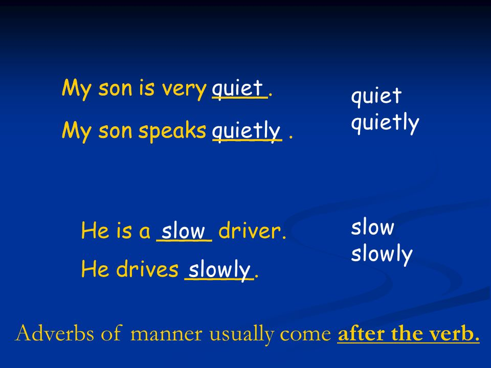 Adverbs of manner usually come after the verb.