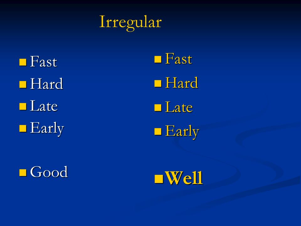 Irregular Fast Hard Late Early Well Fast Hard Late Early Good