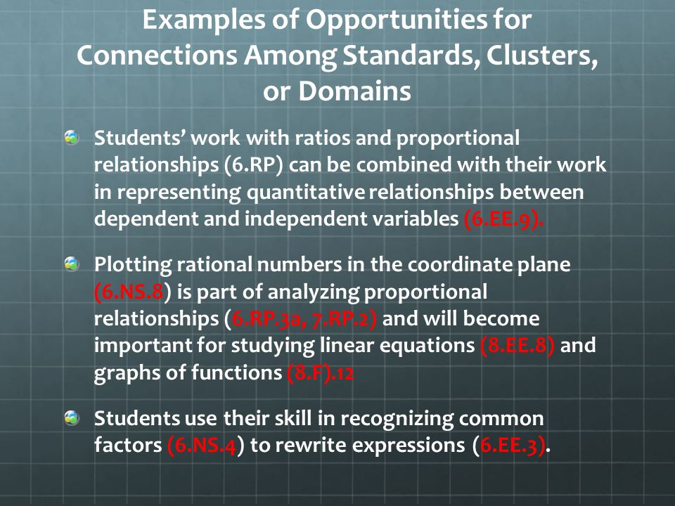 Examples of Opportunities for Connections Among Standards, Clusters, or Domains