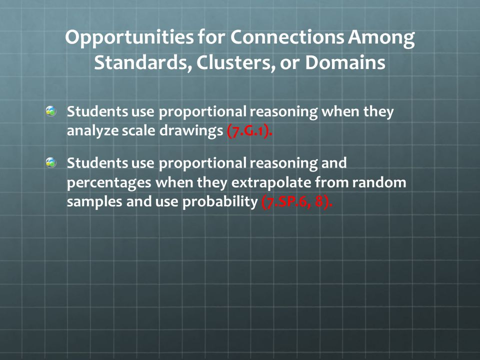 Opportunities for Connections Among Standards, Clusters, or Domains