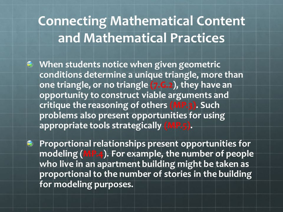 Connecting Mathematical Content and Mathematical Practices