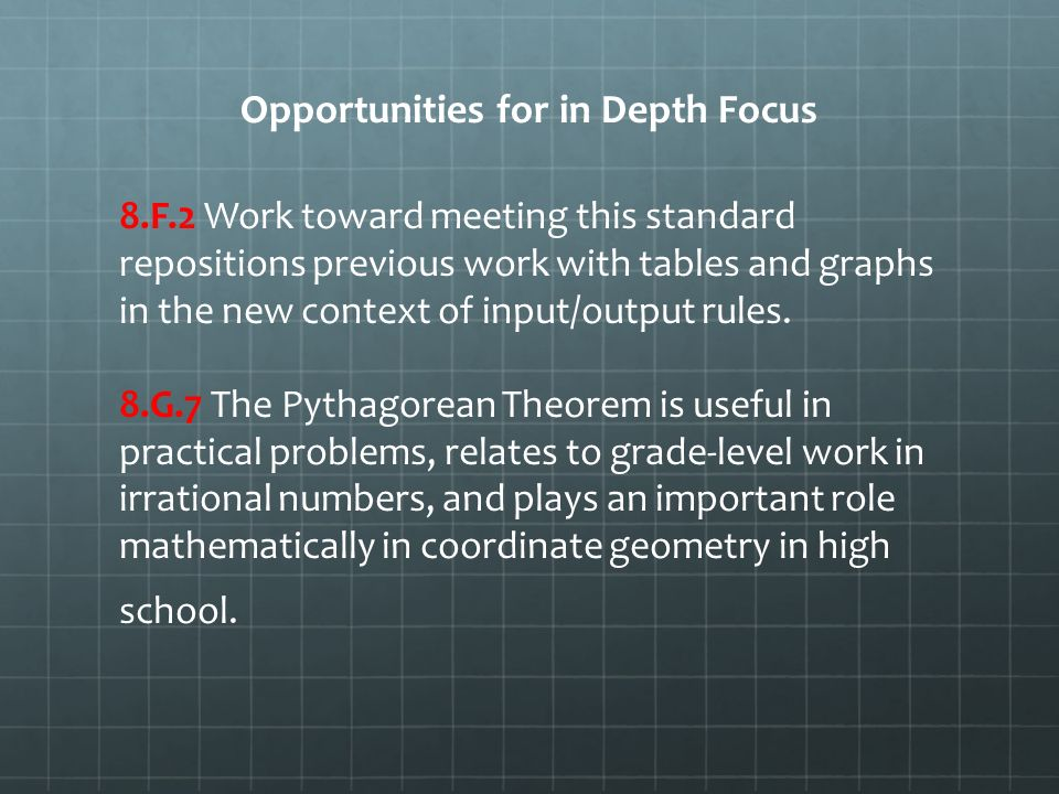 Opportunities for in Depth Focus