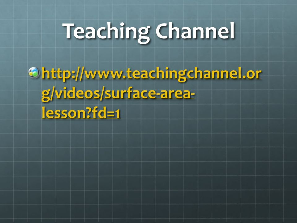 Teaching Channel http://www.teachingchannel.or g/videos/surface-area- lesson fd=1