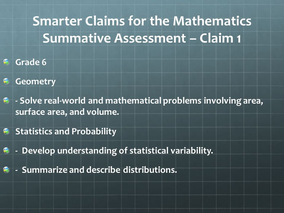 Smarter Claims for the Mathematics Summative Assessment – Claim 1