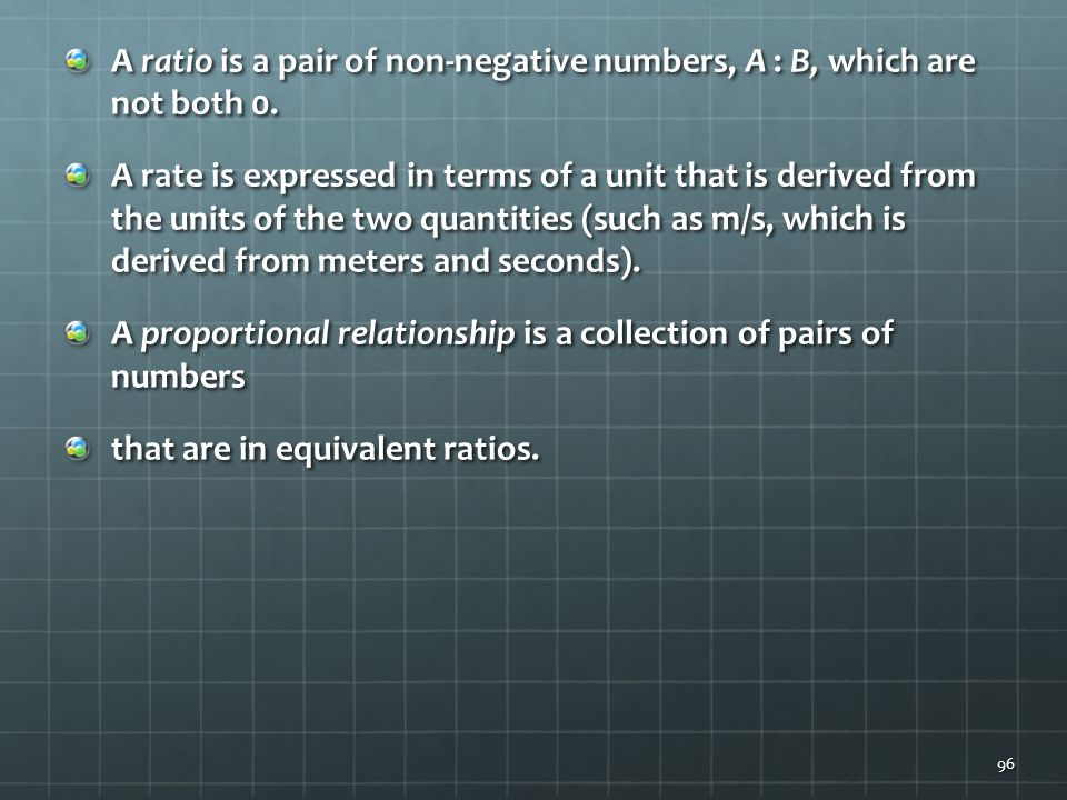 A ratio is a pair of non-negative numbers, A : B, which are not both 0.