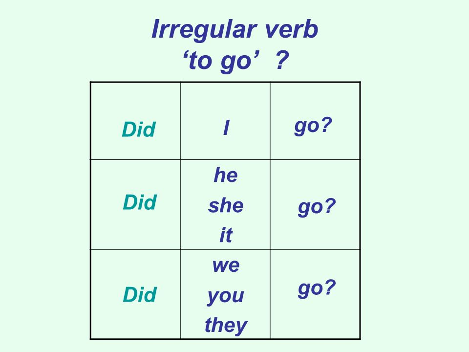 Irregular verb 'to go' I he she it go Did we you they Did go go