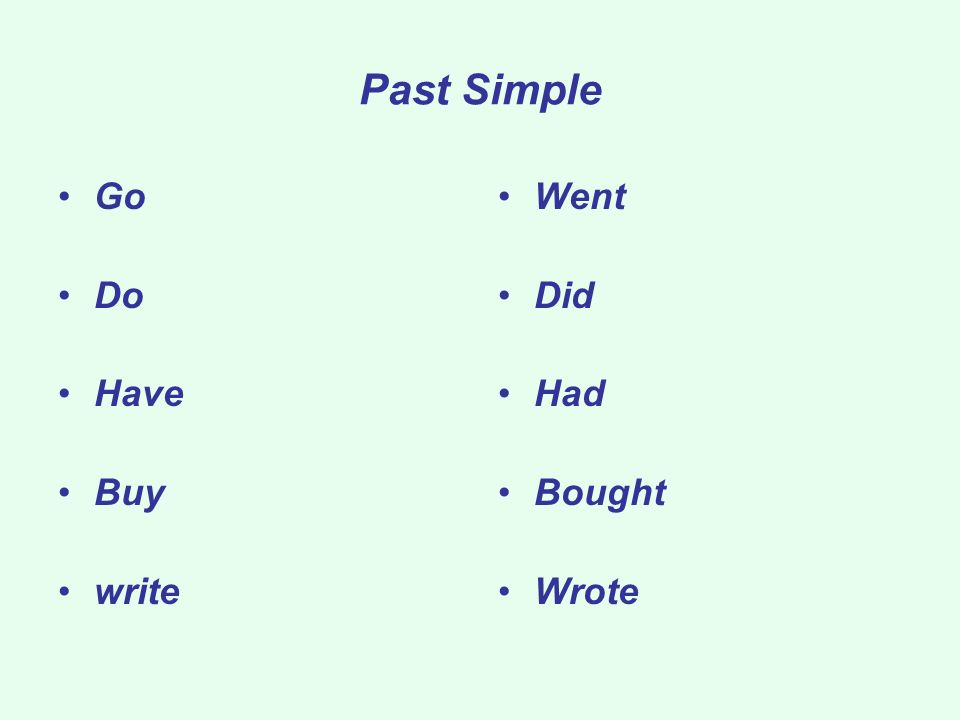 Past Simple Go Do Have Buy write Went Did Had Bought Wrote