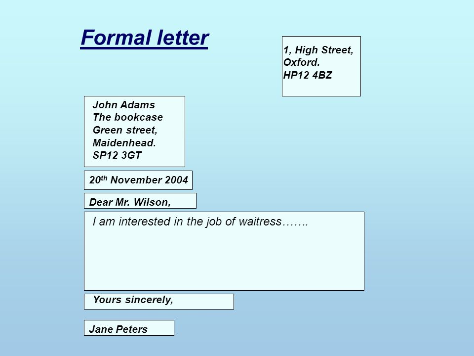 Formal letter I am interested in the job of waitress…….