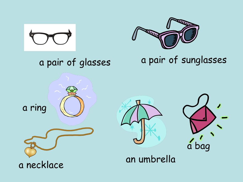 a pair of sunglasses a pair of glasses a ring a bag an umbrella a necklace