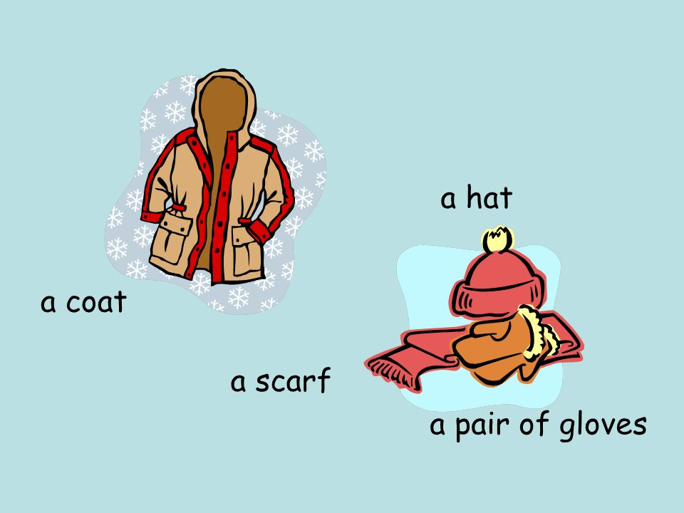 a hat a coat a scarf a pair of gloves