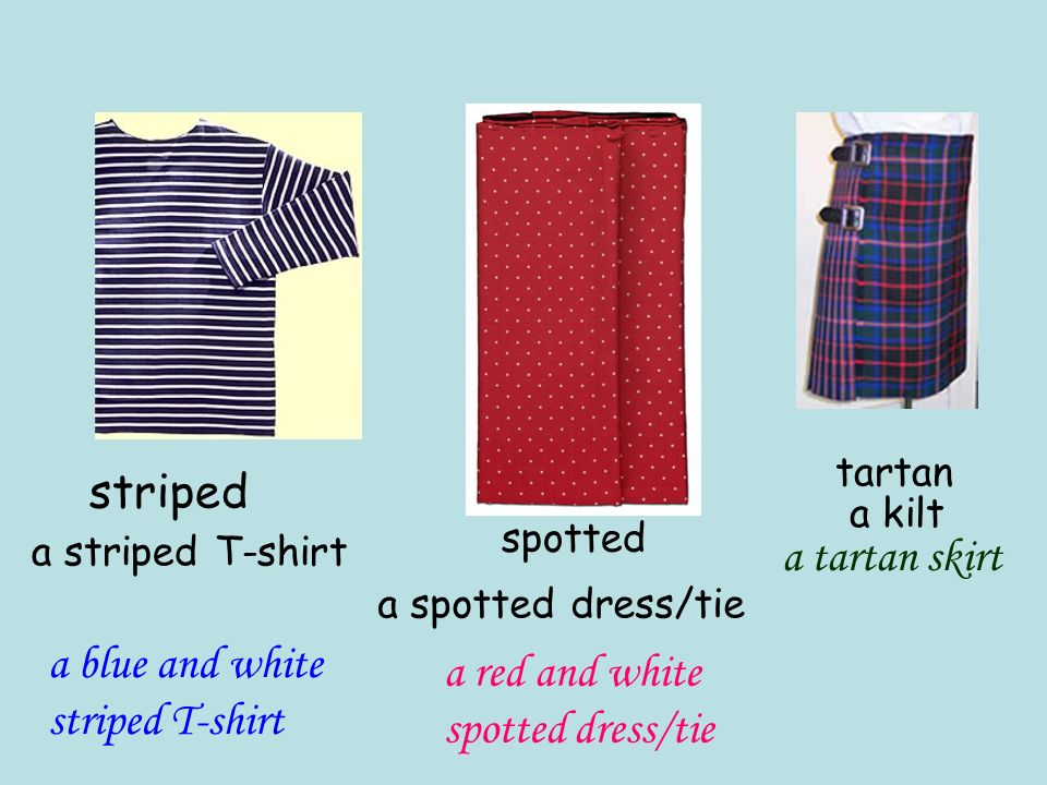 a blue and white striped T-shirt a red and white spotted dress/tie