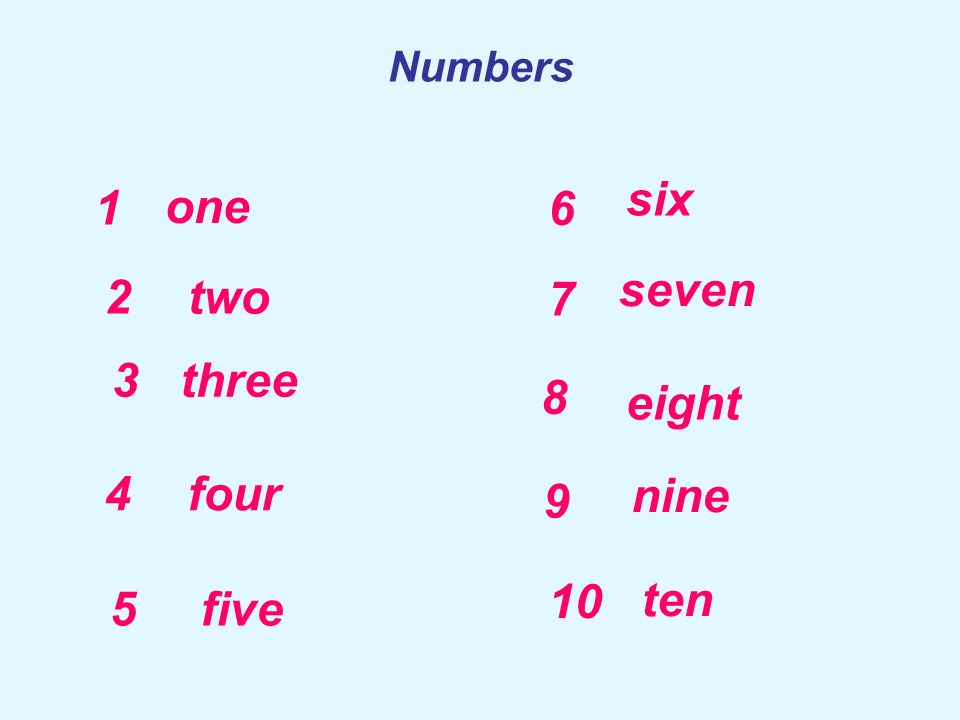 six 1 one 6 seven 2 two 7 3 three 8 eight 4 four 9 nine 10 ten 5 five