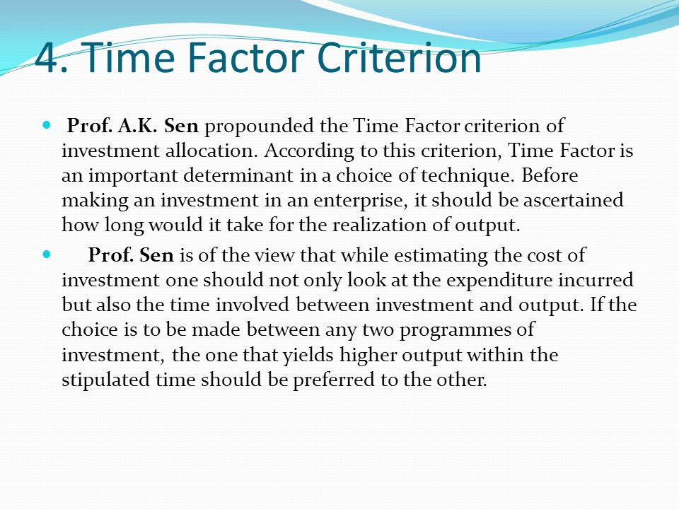 4. Time Factor Criterion