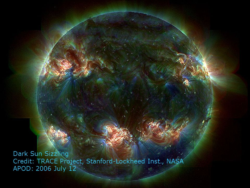Dark Sun Sizzling Credit: TRACE Project, Stanford-Lockheed Inst., NASA APOD: 2006 July 12
