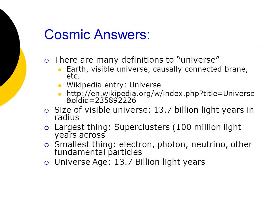 Cosmic Answers: There are many definitions to universe