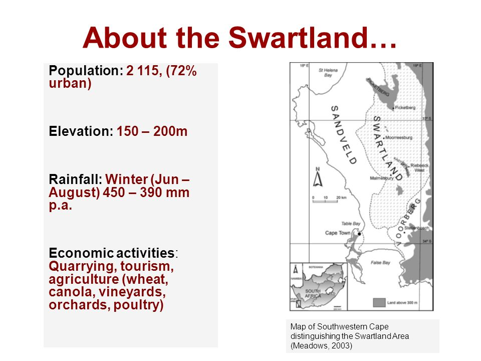 About the Swartland… Population: 2 115, (72% urban)