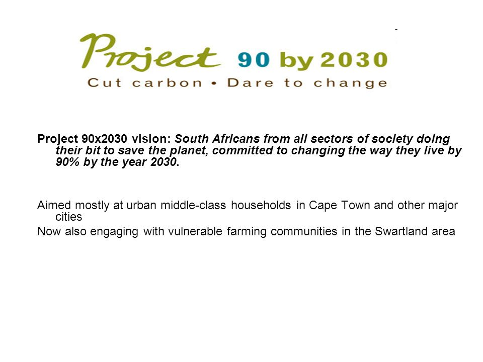 Project 90x2030 vision: South Africans from all sectors of society doing their bit to save the planet, committed to changing the way they live by 90% by the year 2030.