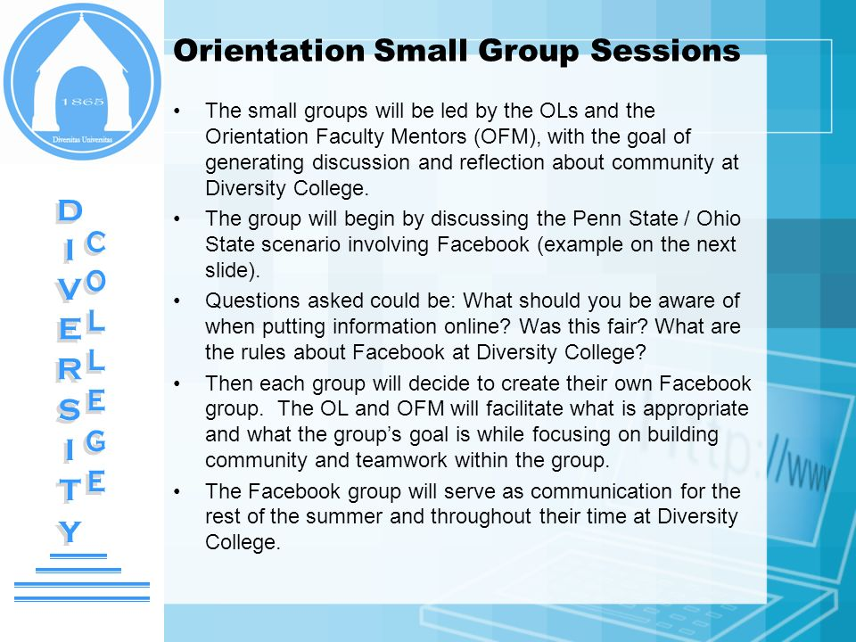 Orientation Small Group Sessions