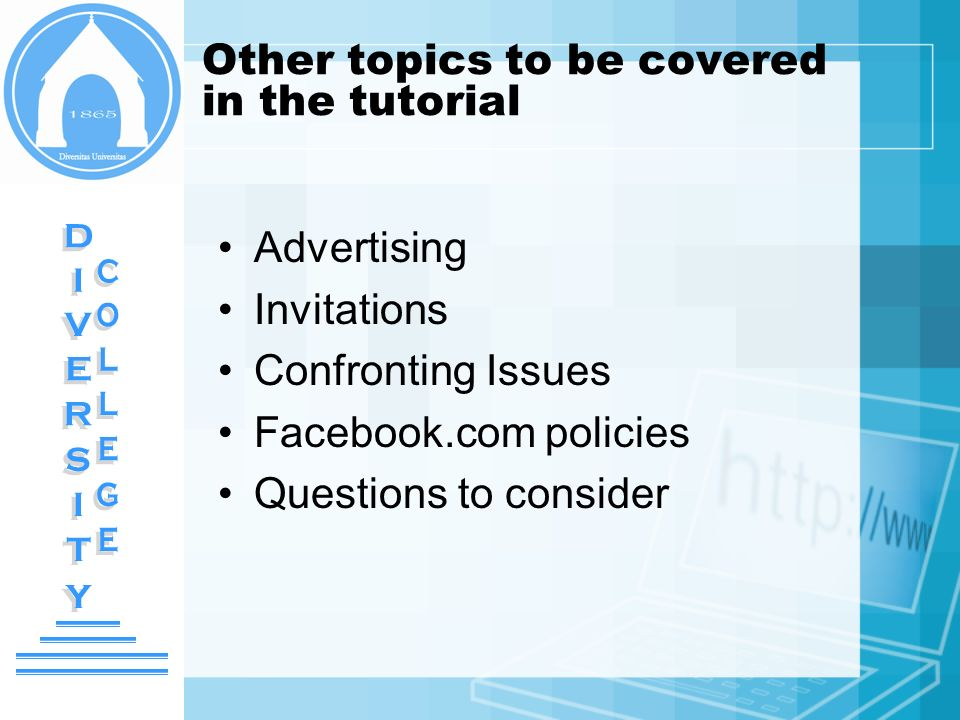 Other topics to be covered in the tutorial