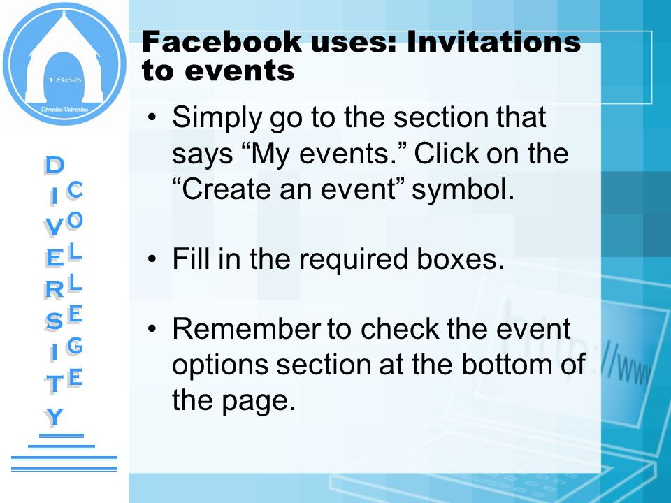 Facebook uses: Invitations to events