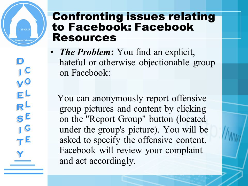 Confronting issues relating to Facebook: Facebook Resources