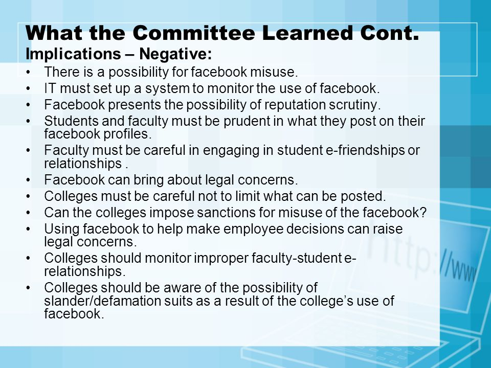 What the Committee Learned Cont.