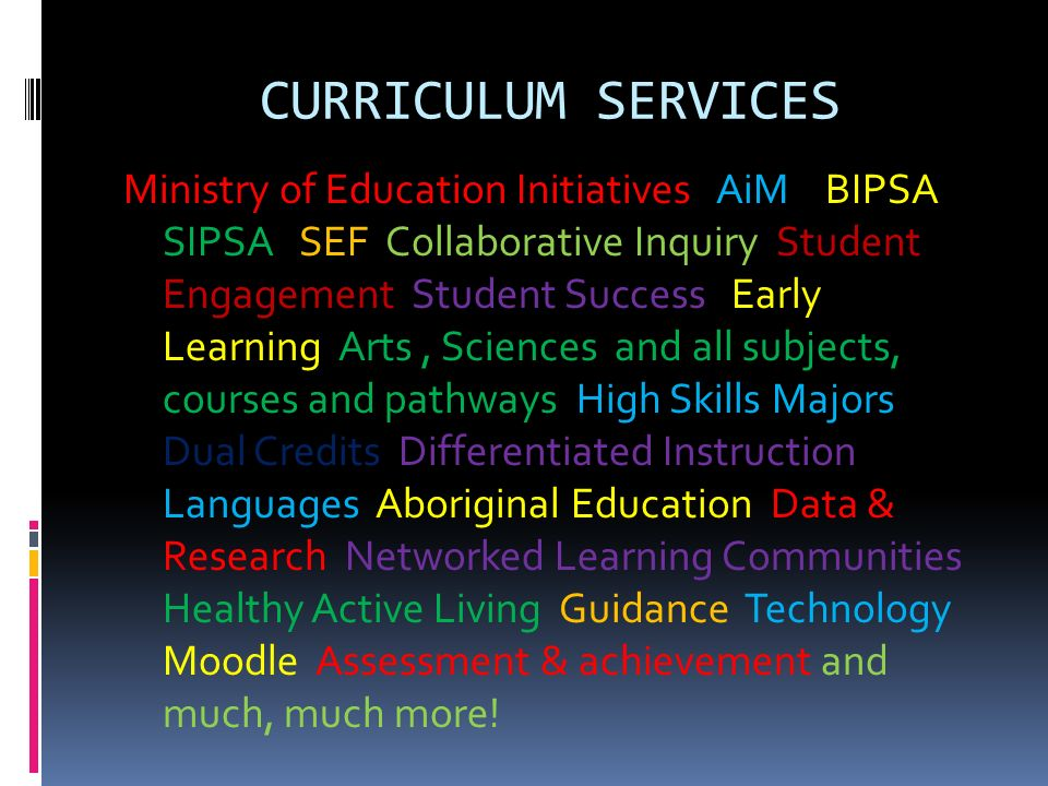 CURRICULUM SERVICES