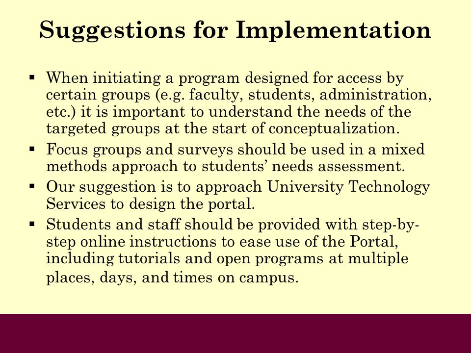 Suggestions for Implementation