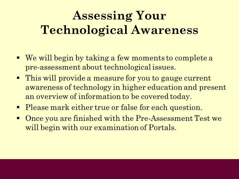 Assessing Your Technological Awareness