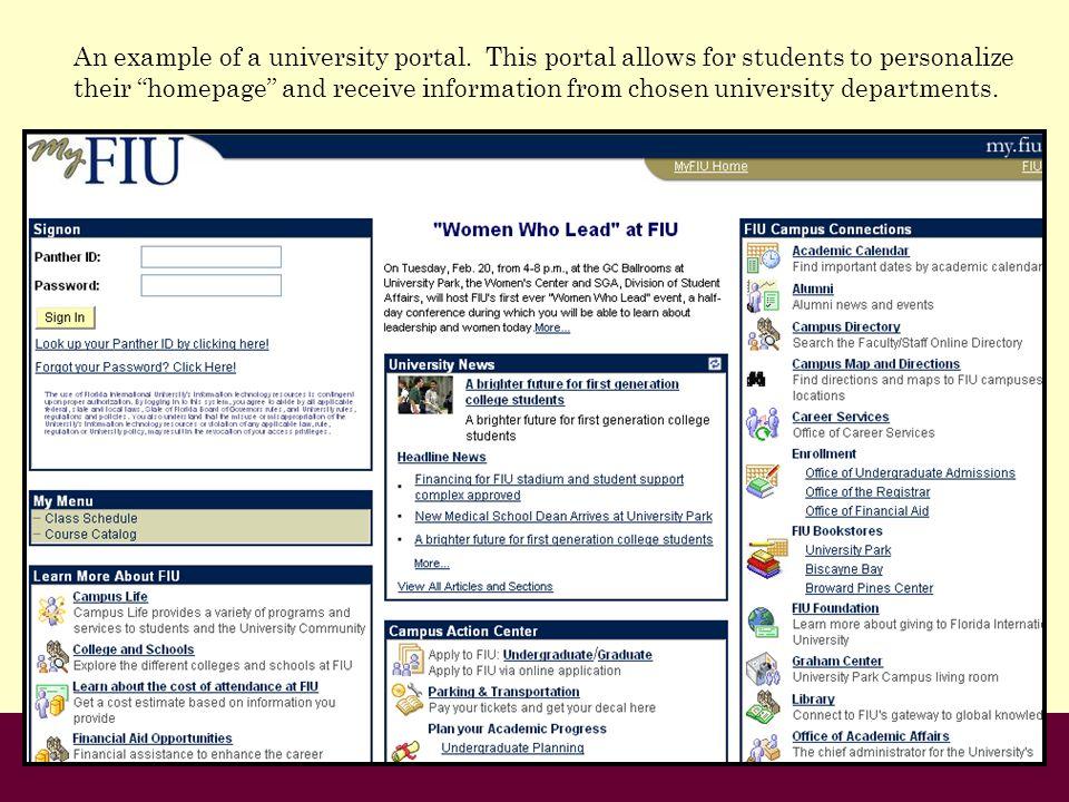 An example of a university portal