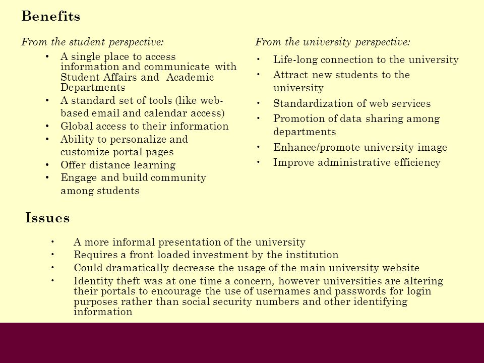 Benefits Issues From the student perspective: