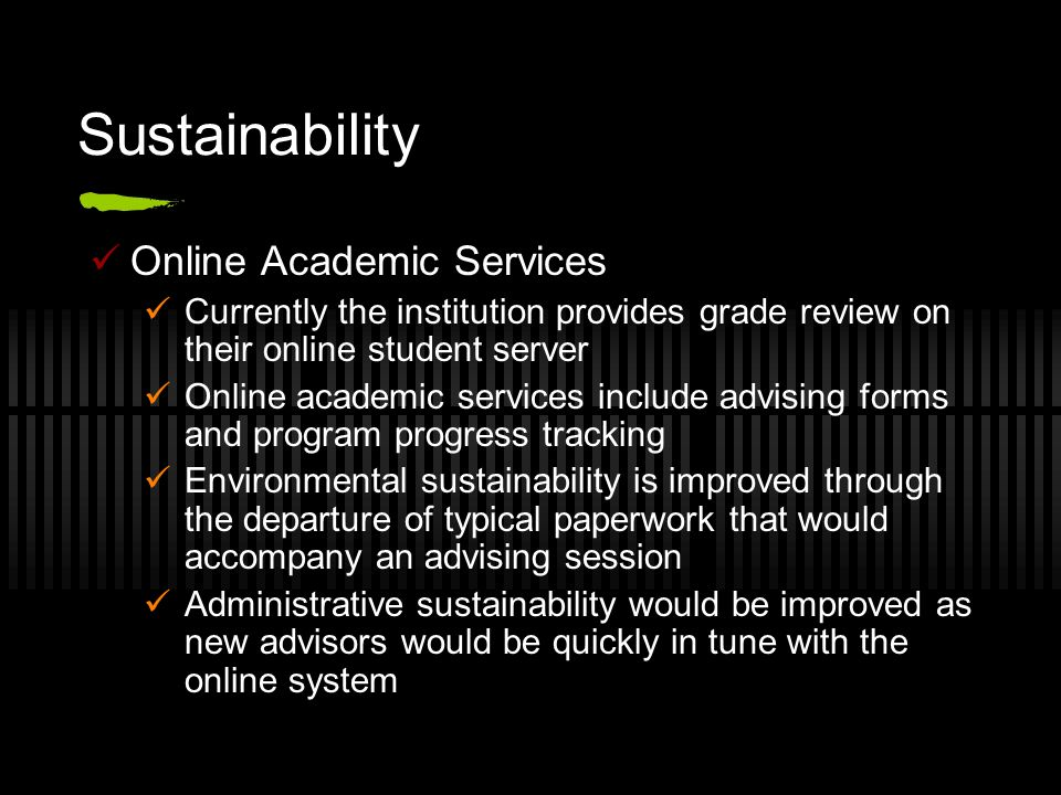 Sustainability Online Academic Services