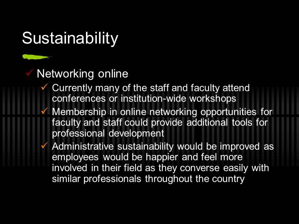 Sustainability Networking online