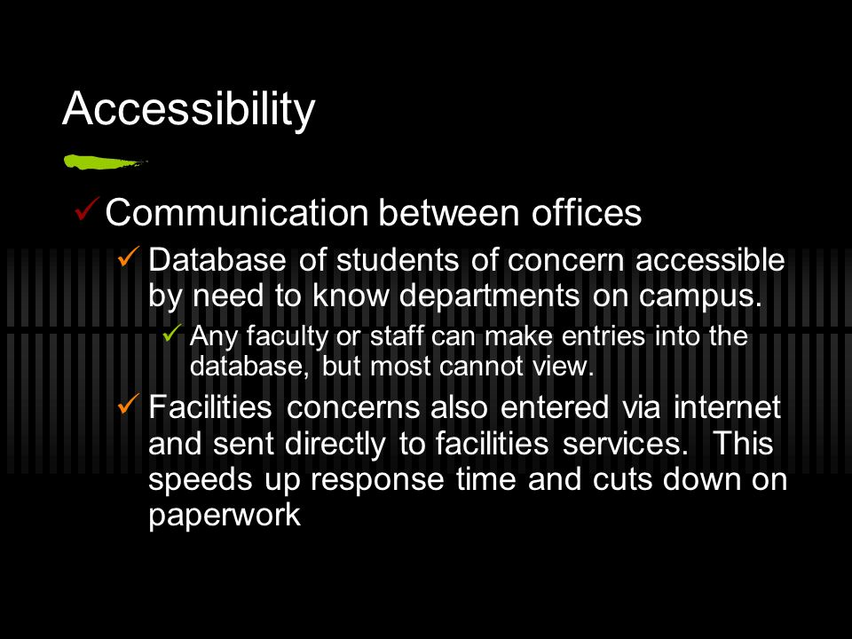 Accessibility Communication between offices