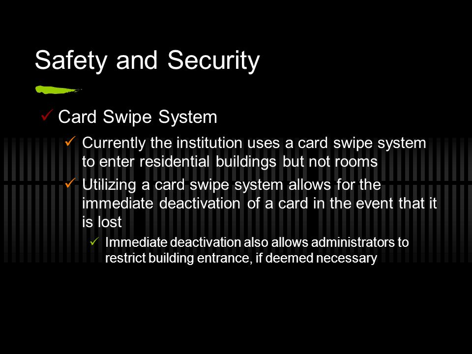 Safety and Security Card Swipe System