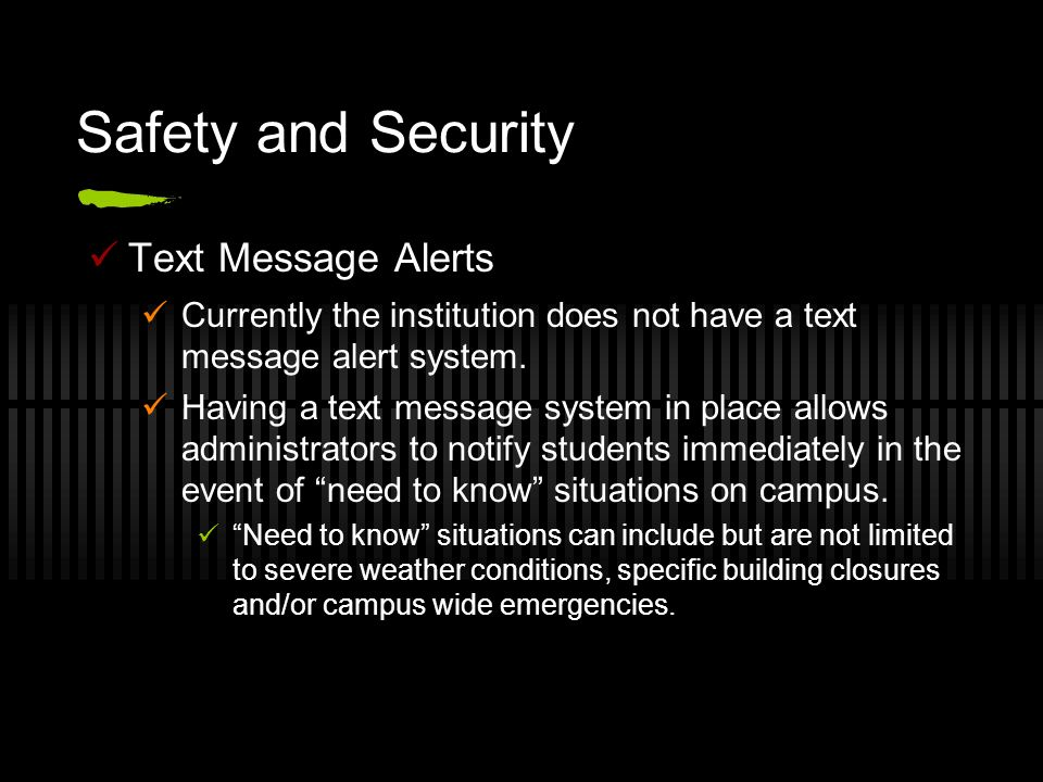 Safety and Security Text Message Alerts