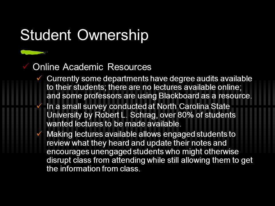 Student Ownership Online Academic Resources