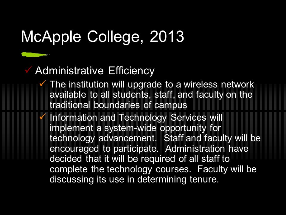 McApple College, 2013 Administrative Efficiency