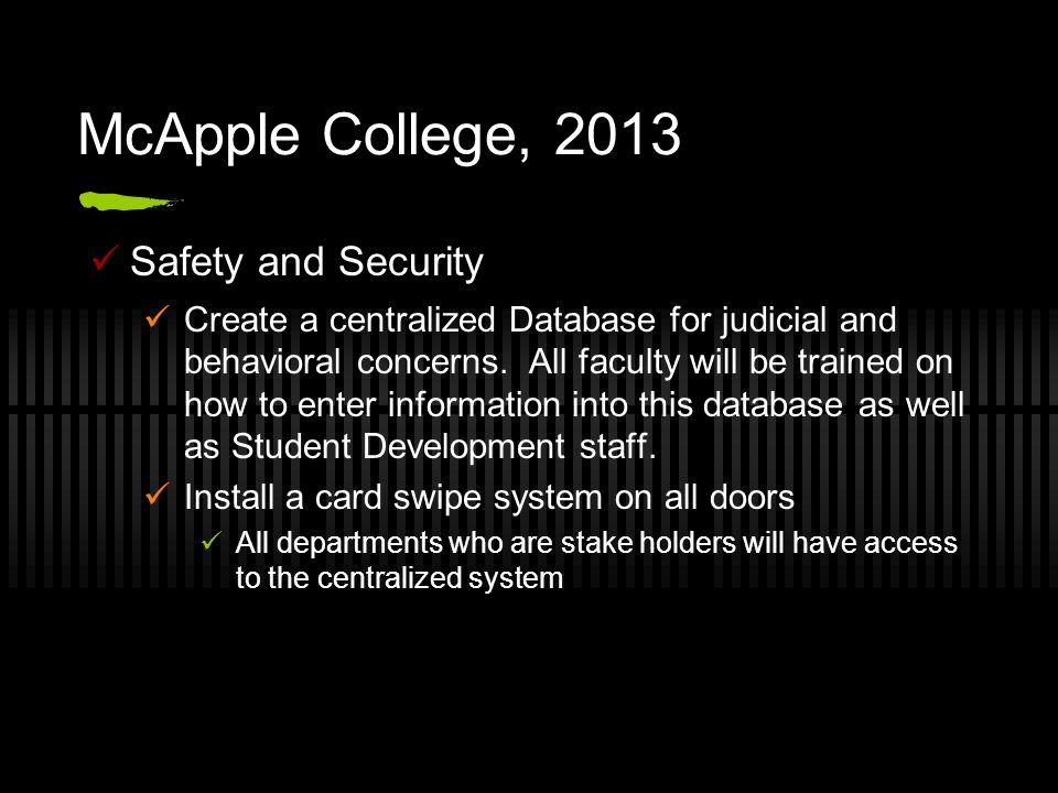 McApple College, 2013 Safety and Security