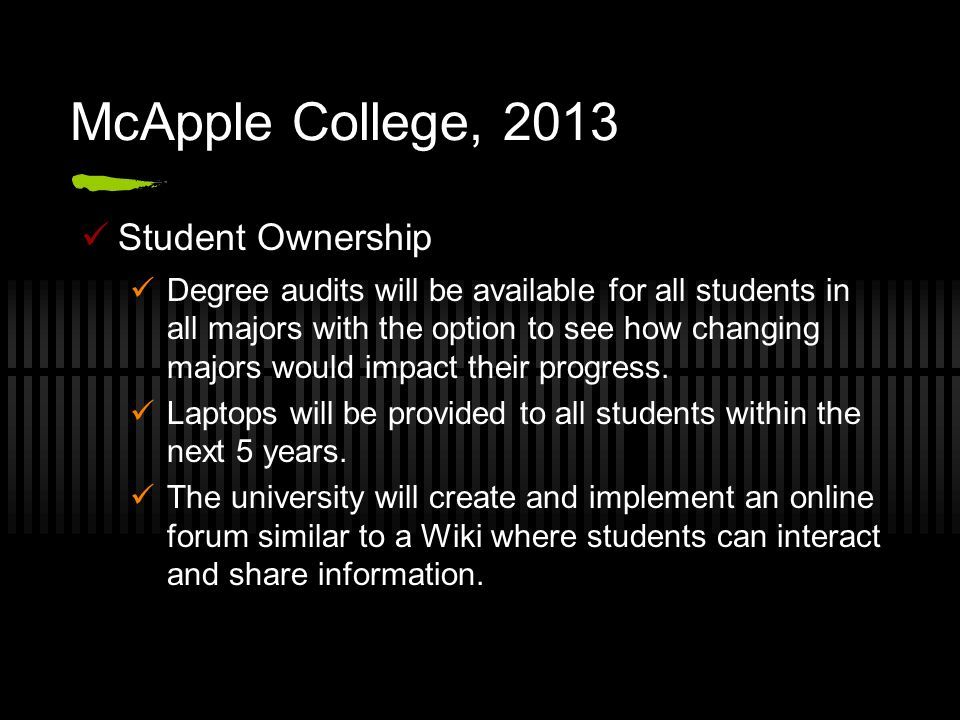 McApple College, 2013 Student Ownership