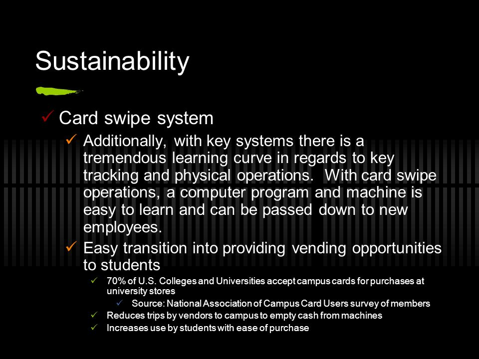 Sustainability Card swipe system