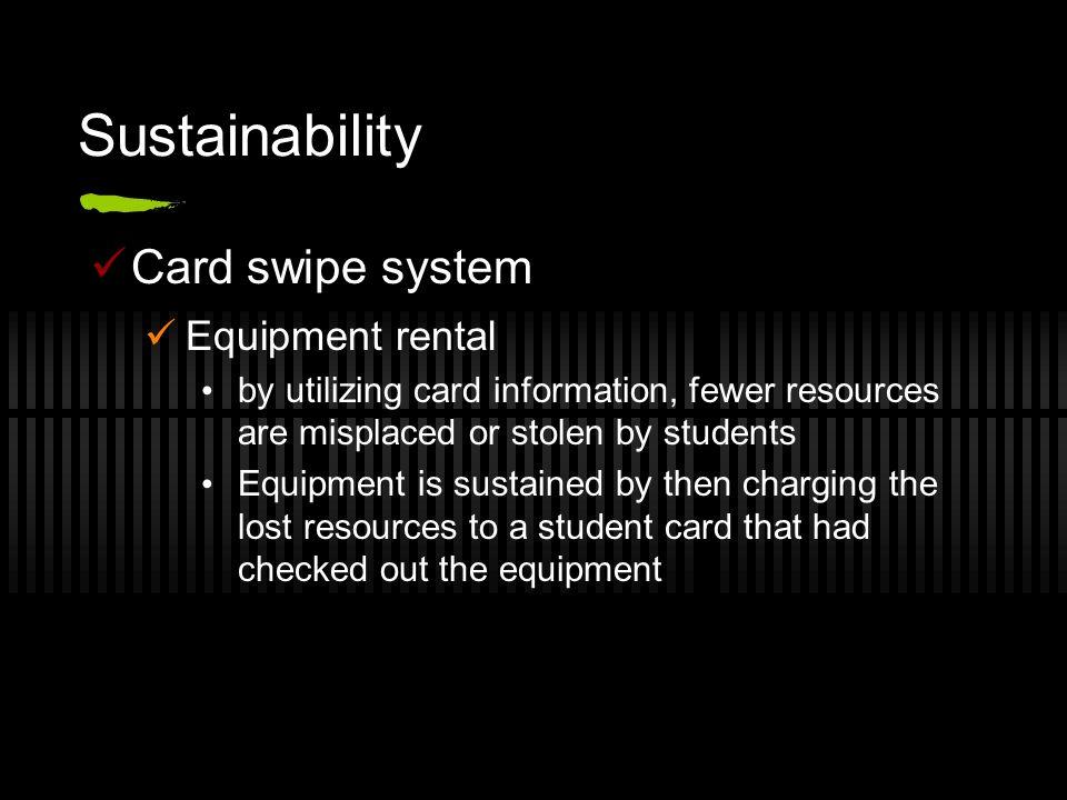 Sustainability Card swipe system Equipment rental